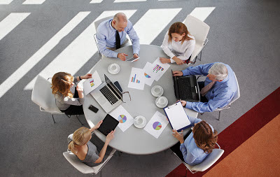 top view of business team working together